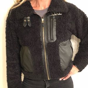 Rachel Roy RACHEL faux-fur mixed material bomber